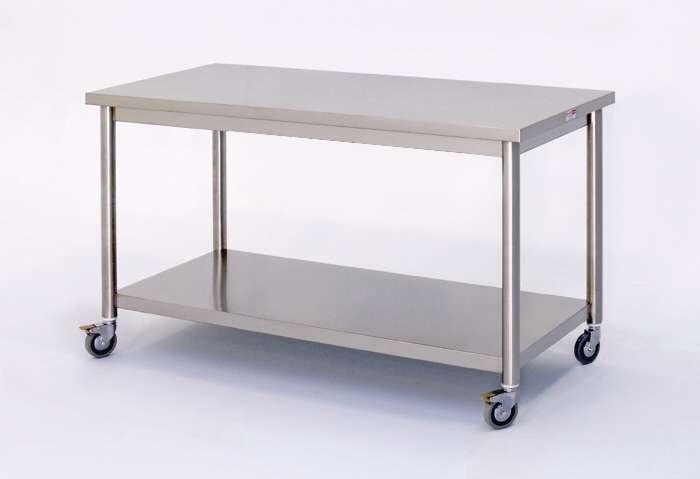 Tavolo poly con sottopiano su ruote bendoni inox - Tavoli acciaio inox prezzi ...